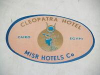 1970s International Hotel Sticker Luggage Label-Cleopatra Hotel-Cairo Egypt-Misr