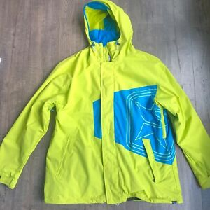 SESSIONS Men's XXL 2XL Recco 'Truth' Snowboard Jacket Shell Green/Yellow Blue