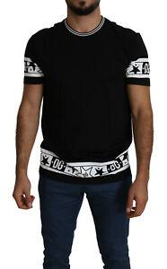 DOLCE & GABBANA T-shirt Black Stars DG Print Straight Tee Top IT50/US40/L