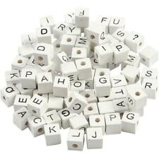 96 x White Square Wooden Alphabet Signs Beads Jewellery Making Supplies Crafts