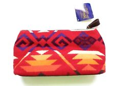 New Pendleton Red Southwestern Wool & Leather Small Cosmetic Toiletry Travel Bag