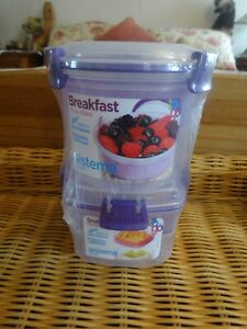 Sistema To Go Compact Breakfast Storage Containers PURPLE
