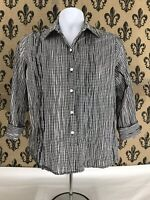 Foxcroft Women's Black White Fitted 3/4 Sleeve Button Up Shirt Top Blouse 10