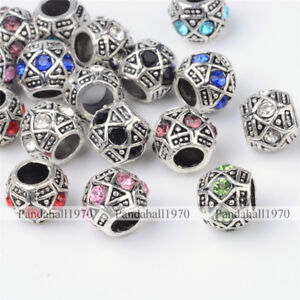 Antique Silver Alloy Rhinestone Rondelle Large Hole European Beads Mixed Color