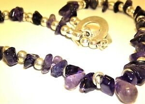 """SILVER AMETHYST NECKLACE BEAD STATEMENT 17"""" COLLAR   TOGGLE CLASP BOULDER 925"""