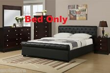 Modern 1 Piece Full Size Bed Bedroom Furniture Black Color Accent Tufting Home