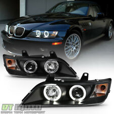 Black 1996-2002 BMW Z3 LED Halo Projector Headlights Head Lamps Pair Left+Right