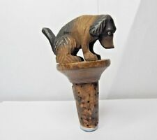 Antique Black forest Articulated Dog Bottle stopper Hand Carved Wood Charming
