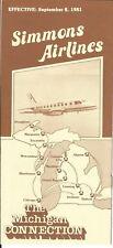 Airline Timetable - Simmons - 08/09/81 - Embraer Bandeirante Gov Milliken photos