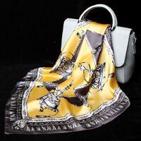 100% Silk Small Scarf Women Vintage Print Office Stewardess Kerchief Tied 53cm