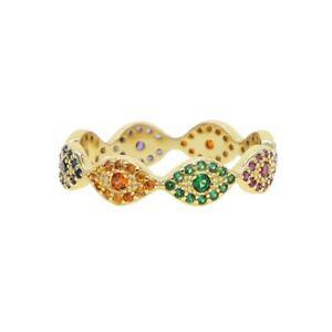 Gold Filled Evil Eye Ring, Cubic Zirconia Set, Multicoloured, Turkish Nazar