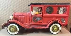 ANTIQUE BUDDY L PRESSED STEEL STEAMPUNK RAT ROD SEDAN DELIVERY TRUCK WITH WOODY