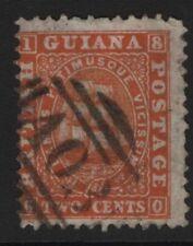 British Guiana SG 30  1862-1865   2c. Deep Orange Thick Paper Perf 12 Used Thin