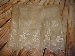 """Renaissance Home Fashion Ava Embroidered Panel Beige Sheer 20"""""""
