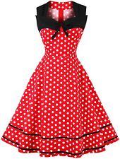 UK Women's Polka Dot Vintage 1950s Style Rockabilly Evening Party Swing Dress