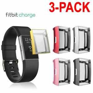 3X TPU Silicone Full Screen Protector Clear Case Cover For Fitbit Charge 2 USA