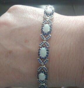 Womens 3 ct Opal and Sapphire Butterfly Tennis Bracelet,  7.5 inches, Free Ship