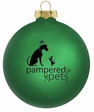 """Pampered Pets Glass Ornament, 3-1/4 Inch, """"Who Rescued Whom?"""" Green"""