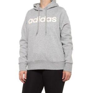 ADIDAS Fleece Hoodie Sweatshirt Womens Plus Size 1X, 2X Grey/Pink Logo Roomy NEW