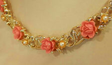 Longer Pretty Vintage 60's Coral Thermoset Rose Necklace 95AG6