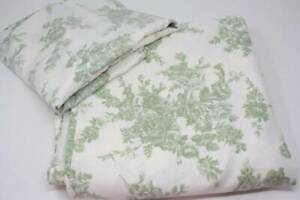 Shabby Cottage Chic Queen Bed Sheets Ivory Sage Green Flat Fitted 2 Pillow Cases
