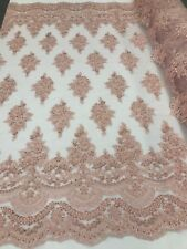 Blush Pink Beaded Flowers Embroidered Hand Beaded On A Mesh Lace Bridal By Yard