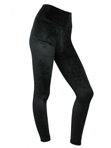Womens Velvet Leggings High Waist Evening Leggins Soft Velour Black