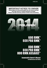 Polaris Owners Manual Book 2014 800 PRO RMK