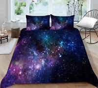 Milsleep Purple Galaxy Bedding Set Quilt Cover Set Twin/Full/Queen/King Size