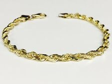 """10KT Solid Yellow Gold Diamond Cut Rope Chain Bracelet 8"""" 5 mm 9 grams (035RR)"""