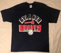 Vtg 90's Logo 7 Atlanta Braves Spell Out MLB Baseball S/S T-Shirt Sz Medium A8