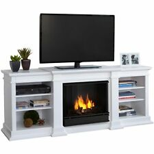 White TV Stand w Gel Fireplace Heater Wood Shelf Console Entertainment Center