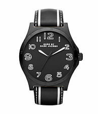 Marc Jacobs Ladies Trompe Henry Black Leather watch MBM1233 NEW!  Fast Shipping