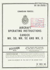 AVRO CANADA CF-100 CANUCK MK.5D, 5C & MK.5 AIRCRAFT OPERATING INSTRUCTIONS 1970