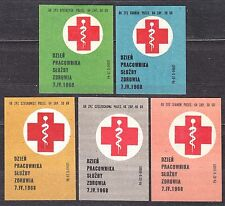 POLAND 1968 Matchbox Label - Cat.Z#836 set, Day of the Health Care Worker 7.IV..