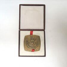 """Aus Nachlass Bronze Medaille Gedenkplakette Polen  """"Warschau"""" ca. 7 cm mit Box"""