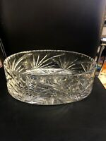 Vintage Julia Genuine Handcut Lead Crystal 24% Crystal Oval Bowl Poland