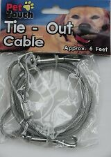 "SILVER ""Tie Out Cable"" 6 feet long cable-Dog/Puppy/Cat/Kitten/Gift/Walk/Run"