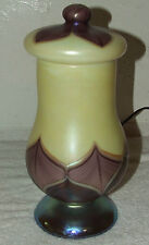 LUNDBERG STUDIOS Hand Blown Art Glass Ivory Copper Feather Urn Table Lamp 1981