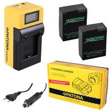 2x Batteria Patona + caricabatteria Synchron LCD USB per GoPro HD HERO 3