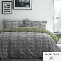 Racing Green LEOPARD Duvet Cover Set - 180TC Easy Care Bedding - Grey -All Sizes