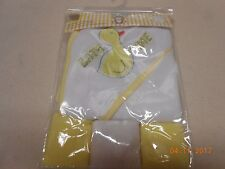 New unisex baby Bath time hooded towel & 3 washcloths yellow duck design Free Sh