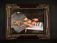 Super kitsch 70 encadrement piano & roses illuminés en clignotant fonctionne