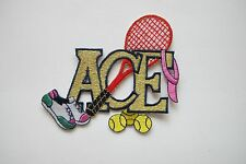 """#3417S 4"""" Tennis,Ball,Hat,Shoe w/Gold ACE word Embroidery Applique Patch"""