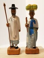 VINTAGE PAIR OF HAND CARVED WOODEN ASIAN COUPLE FIGURINES STATUES 8""