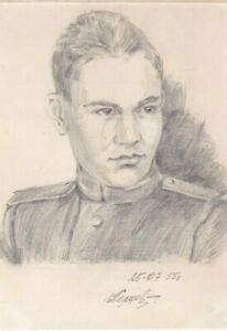 1955 GRIGORY PERTSEV Portrait of Handsome young Russian military man USSR ART