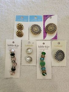7 RANDOM LE BOUTON, HILDIE & JO, & LAMODE BUTTONS AND METAL LINED BEADS NEW
