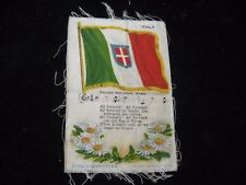 "Zira Cigarettes Italy Italian Flag w/ Hymn Song Tobacco Card Silk 2-1/2"" X 4"""