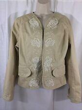 Kikit Jeans Womens Size Large Beige Denim Embroidered Flowers Hook Closer Jacket