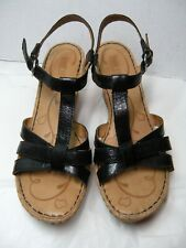 Born Womens Sandals Size 10 M Buckle Open toe Black Leather Sling Back  # B